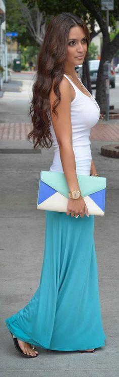 colorful maxi, white tank, big clutch purse