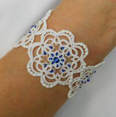 แต่งงานเข็มสร้อยข้อมือสร้อยข้อมือ tatted TattingLaceJewellery