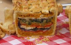 Ruby's layered picnic pie - recipe: http://thehappyfoodie.co.uk/recipes/rubys-picnic-pie