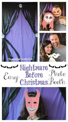 Easy Nightmare Before Christmas Photo Backdrop Christmas Photo Booth Backdrop, Christmas Booth, Christmas Birthday Party, Christmas Baby Shower, Christmas Backdrops, Halloween Birthday, Holidays Halloween, Baby Halloween, Christmas Photos