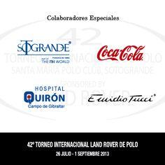 SOTOGRANDE, COCA-COLA, HOSPITAL QUIRÓN CAMPO DE GIBRALTAR y EMIDIO TUCCI, Colaboradores Especiales del 42 Torneo Internacional Land Rover de Polo.