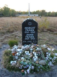 Anne Frank memorial in Bergen-Belsen, Germany. Anne and Margot Frank were victims of the Holocaust and died due to typhus in Bergen-Belsen concentration camp.