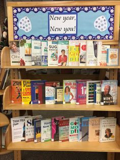 """""""New year, new you"""" library book display. Features nonfiction books about dieting/weight loss, budgeting/personal finance, de-cluttering/organizing, stress management, self help, etc. Basically anything people might make New Year's resolutions about."""