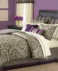 grey comforter | ... STEWART - Brownstone Damask Taupe Grey 24-Piece Queen Comforter Set