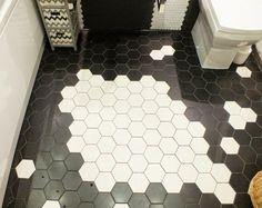 Fußboden Fliesen in Schwarz-Weiß