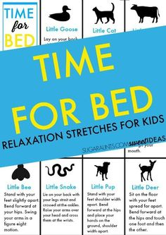 Bedtime relaxation stretches for kids that will help make bedtime easier. What a great way to get kids calm and ready for bed! Gross Motor Skills, Gross Motor Activities, Learning Activities, Activities For Kids, Calming Activities, Stretches For Kids, Yoga For Kids, Exercise For Kids, Toddler Bedtime