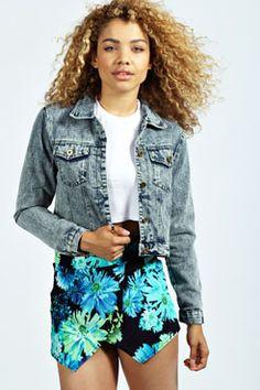 Spring fashion inspiration - Ivy Snow Wash Denim Jacket at boohoo.com