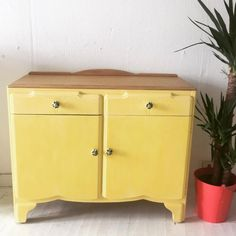 Flora the Yellow sideboard,  Wooden top Floral Porcelain Knobs by Treemendus on Etsy