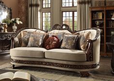 Homey Design 95 Inch Sofa with Carved Detailing, Decorative Pillows Included, Chenille Upholstery and Welt Stitching in Brown and Beige 5 Piece Living Room Set, Living Room Sets, Sofa And Loveseat Set, Couch, Traditional Sofa, Traditional Furniture, Classic Living Room, Formal Living Rooms, Fabric Sofa