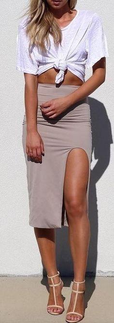 White Tee + Nude Midi Skirt                                                                             Source