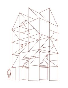 '2x3x5' is a 3d installation consisting of a scaffold construction of 4m x 6m x 10m with a spatial grid of cubes of 2m x 2m. In these spatial cubes metal roofpanels with a classic red tile motive were placed in a certain sequence.