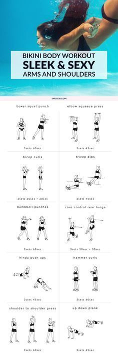 Get ready for bikini season with this complete arm and shoulder workout. Melt off extra fat, target all the major muscles in the upper body, and reveal sleek, sexy arms and shoulders fast! http://www.spotebi.com/workout-routines/complete-arms-shoulders-workout-women/