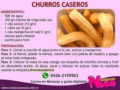 @variedadesnice / Hola mis bell@s amig@s 😁 aquí les comparto con mucho cariño la receta para hacer CHURROS CASEROS, que le saques provecho… Kitchen Recipes, My Recipes, Cookie Recipes, Snack Recipes, Dessert Recipes, Mexican Snacks, Mexican Food Recipes, Delicious Desserts, Yummy Food