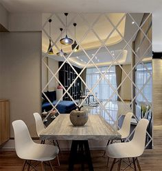 This wall decal is made from acrylic mirrors; like a mirror but much lighter. Apply removable stickers on the back, so you can arrange them anywhere in the room, even on the ceiling. This type of material offers the homeowners control over the balance of light. It is great choice for decor in any rooms. if you need different color or listed size doesnt meet your requirement, please contact us for customize order. We use good quality acrylic material make mirror decal. It is heavy; all b...