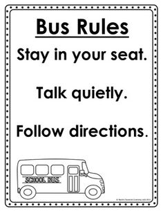 Bus Rules and Behavior Chart Welcome To Kindergarten, Welcome To School, School Bus Safety, School Bus Driver, School Bus Pictures, First Grade Classroom, Classroom Teacher, Classroom Decor, Teaching Sight Words