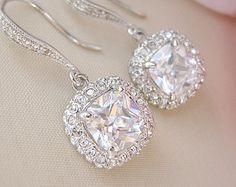 Gorgeous Cushion Cut Bridal Earrings Wedding Earrings Bridal Jewelry Wedding Jewelry Bride Earrings