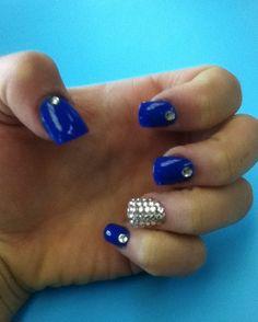 Prom, nails, bling, royal blue, gem design