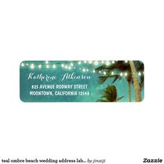 teal ombre beach wedding address labels with palms