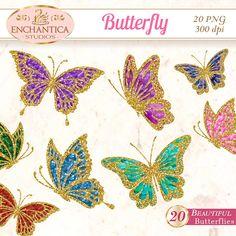 Butterfly Clip Art, Butterfly Clipart, Butterfly Png, Butterfly Printable, Butterfly Glitter, Butterfly Scrapbook, Digital Butterfly, Images