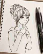Student girl - sketch by ohayorinka drawing tips, drawing sketches, drawing Easy Pencil Drawings, Pencil Sketch Drawing, Art Drawings Sketches Simple, Anime Drawings Sketches, Girly Drawings, Anime Sketch, Drawing Ideas, Easy Drawings Of Girls, Drawing Art