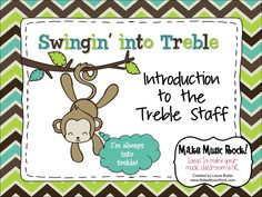 """Swingin' into Treble: Intro to the Treble Staff. Innovative visuals guide students though the staff, line & space notes,  and musical alphabet. A new way of displaying line & space notes helps students understand the reasoning behind sentences like """"Every good ballerina deserves flowers."""