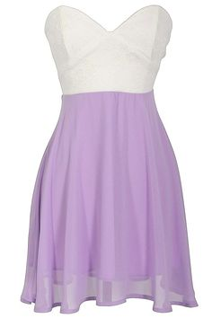 Strapless Floral Lace Bustier Dress in Ivory/Lilac
