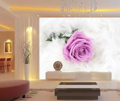 Wall Decals - YYone The Tremor of Awe is the Best in Mam Quote Red Flowers Butterflies Removable Wall Mural Decal - Wall Mural Decals, Removable Wall Murals, Ceiling Murals, Ceiling Decor, Romantic Flowers, Red Flowers, Flower Mural, Rose Wall, 3d Wall Panels