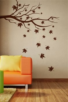 Impressions Falling Leaves Wall Decal - Add oodles of style to your home with an exciting range of designer furniture, furnishings, decor items and kitchenware. We promise to deliver best quality products at best prices. Tree Wall Painting, Simple Wall Paintings, Creative Wall Painting, Metal Tree Wall Art, Bedroom Wall Designs, Wall Art Designs, Wall Decals For Bedroom, Tree Design On Wall, Christmas Tree Wall Decal