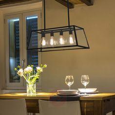 Hengelampe Rose i industriell stil og med fire lys