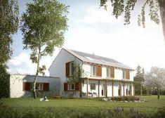 Orkisz - to wygodny, komfortowy dom dla 4-5 osobowej rodziny w stylu miejskiej willi, która charakteryzuje się otwartym rozplanowaniem parteru oraz indywidualnymi pokojami na piętrze.  #domowy #domowy.pl #willa #dom #eleganckidom #stylowydom #zgarazem #duzysalon #jasnydom