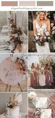 unique dusty pink and grey boho rustic wedding theme Neutral Wedding Colors, Pink Wedding Theme, Wedding Blog, Wedding Stuff, Wedding Ideas, Trendy Wedding, Elegant Wedding, Rustic Wedding, Dusty Pink Weddings