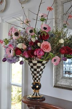 Valentines Day bouquet inspiration! The pastel poppies look great against our Courtly Check pattern!