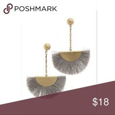 """✨NEW THIS WEEK✨KEISHLA BLACK FAN EARRING ✨NEW THIS WEEK✨KEISHLA GREY FAN EARRING  Gold vermeil earrings Fringed silky thread detail COLOR:  Grey  Measures approx 3.2"""" dangling  Push-back  FREE WITH PURCHASE: Cute little organza drawstring pouch for storage or for gifting.    🛍Bundle & Save!! 10% 2+ items  ✅Available in Black, Grey, Cobalt Blue, Ivory, on a separate listings. MischkaPu Jewelry Earrings"""