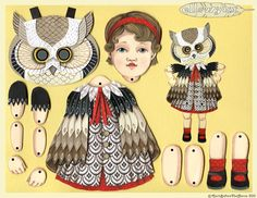 paper doll dressed  in owl costume, I'm going to use a picture of my daughter for the face.