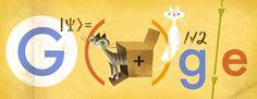 """Erwin Schrödinger - 12 augustus 2013 Logo in het teken van Erwin Schrödinger geboren op 12 augustus 1887 in Wenen. Schrödinger was een Oostenrijks natuurkundige die beroemd werd door zijn bijdragen aan de kwantummechanica en in het bijzonder de Schrödingervergelijking waar hij in 1933 de Nobelprijs voor kreeg. Schrödinger is ook bekend van """"Schrödingers kat"""", een gedachte-experiment uit 1935 omtrent het begrip superpositie in de kwantummechanica."""