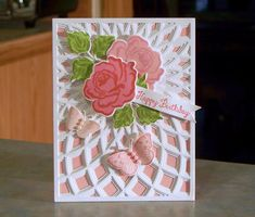 Handmade Floral Birthday Card using Gina K Designs & Hero Arts stamps, along with Birch Press Designs Layering Dies
