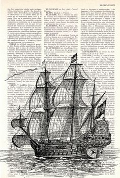 9d1876ee0 Book Print Old ship print Dictionary Encyclopedia Page Book print Vintage  Ship Print SEA011