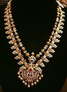diamond peacock mango mala from Moksha diamond boutique, diamond long chain , trendy diamond jewellery Gold Earrings Designs, Gold Jewellery Design, Silver Jewelry, Necklace Designs, Silver Rings, Diamond Jewelry, Diamond Necklaces, Antique Jewelry, Beaded Jewelry