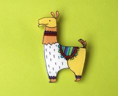 Llama Brooch by lacravatteduchien on Etsy, €12.00