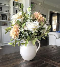 Silk Floral Arrangement/Centerpiece: Summer or all year round arrangement Dahlias and roses in a cream colored distressed pitcher by SimplyStems on Etsy