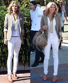 California Style: AnnaLynne McCord's White Skinny Jeans Outfit