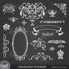CHALKBOARD Clipart VICTORIAN Clip Art Design Elements, Instant Download, Antique Vintage Frames Borders Flourishes Scroll Clip art
