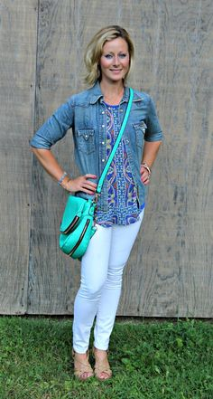 September Stitch Fix Review from Primally Inspired Tucker Mixed Print Split-Back Tank with Green Emer High Waisted Cropped Trousers