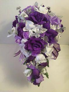 Silver Purple Lavender Silk Roses Wedding Bridal Bouquet papimammina  | eBay