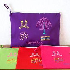 ベトナム かわいい刺繍ポーチ(TRAVEL BAG チャック付き)