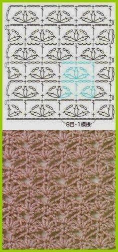 Crochet stitch Tutorial for Crochet, Knitting. Crochet Diy, Crochet Motifs, Crochet Diagram, Crochet Stitches Patterns, Crochet Chart, Knitting Stitches, Crochet Designs, Knitting Patterns, Crochet Flower
