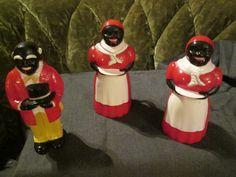 1950s Aunt Jemima, Uncle Mose, Salt and Pepper Set, Aunt Jemima Syrup Container. Salt Pepper Syrup 3 Piece Aunt Jemima Set. by FriendsRetro on Etsy