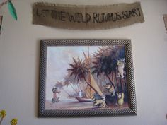modge Podge decoration using Where the Wild Things are book and an old painting for wall decoration at party