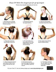 Easy ballet bun instructions! This one for longer or thicker hair. #hair #beauty #balletbun