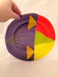 Fused glass bowl in purple yellow orange and by SassyGlassBySuzy